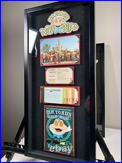 Vintage Disneyland Ticket Book A-E Mr Toad Wild Ride Framed Walt Disney Postcard