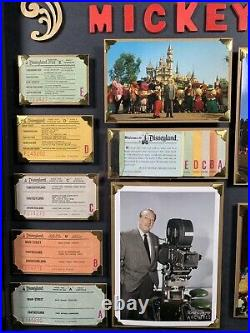 Vintage Disneyland Ticket Book A-E Walt Disney Mickey Mouse Framed Postcard NICE
