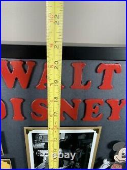 Vintage Disneyland Ticket Book A-E Walt Disney Postcard Mickey Mouse Framed NICE