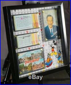 Vintage Disneyland Ticket Book Coupon Rare Walt Disney Postcard Original Framed