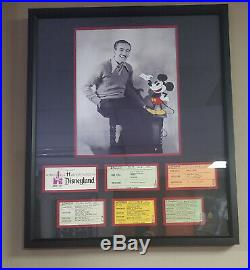Vintage Disneyland Ticket Book Coupons Walt Disney & Mickey 11x14- Framed