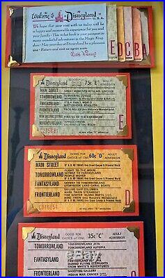 Vintage Disneyland Ticket Book Framed Display Coupon Original Walt Disney