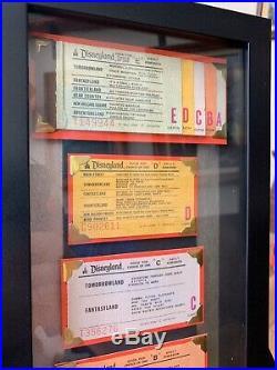 Vintage Disneyland Ticket Book Framed Display Coupon Original Walt Disney Rare
