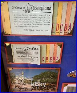 Vintage Disneyland Ticket Book Framed Mickey Walt Disney 8x10 Photo Postcard A-E