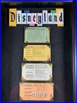 Vintage Disneyland Ticket Coupon A-E Framed Ride Original Walt Disney 1970 Rare