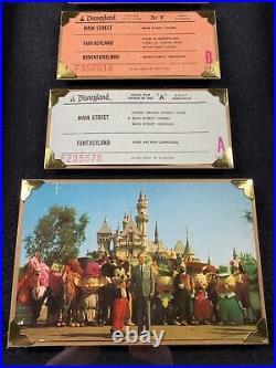 Vintage Disneyland Ticket Coupon A-E Ride Framed Original Walt Disney 1970s Rare