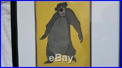Vintage Original 1967 Walt Disney Animation Cel Jungle Book Framed Baloo withCOA