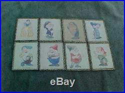 Vintage SNOW WHITE & 7 DWARFS Authentic Framed Characters Pictures From 1930s