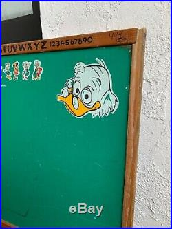 Vintage Walt Disney Chalk Board Mickey Mouse Donald Duck Classroom Wood Frame