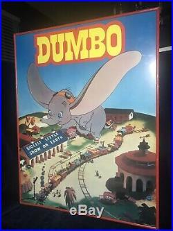 Vintage Walt Disney Dumbo Movie Poster 28x22 Very Good Condition. Framed