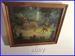Vintage Walt Disney Lithograph Art Print Bambi Meets His Forest Friends 1940s