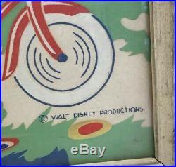 Vintage Walt Disney Productions Donald Duck Riding Bike Framed Collector Item
