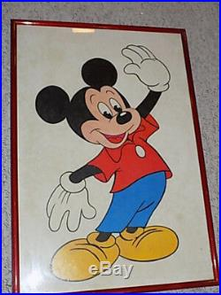 Vintage Walt Disney Productions MICKEY MOUSE Red Framed