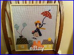Vintage framed artwork of Walt Disney Mary Poppins Mixed Media Unique Yarn art