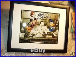 WALT DISNEY Goofy Donald Hand SIGNED photo BRAND NEW Solid Wood Frame CoA