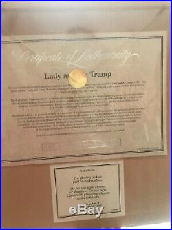 WALT DISNEY LADY AND THE TRAMP FRAMED Limited Ed. Certified SERICEL 1995