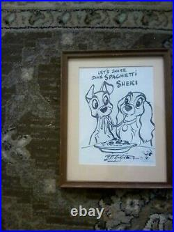 WALT DISNEY Lady and the Tramp FRAMED ORIGINAL marker DRAWING BY BILL JUSTICE