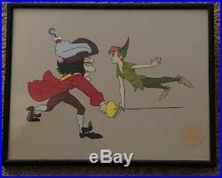 WALT DISNEY PETER PAN LIMITED EDITION BLACK METAL FRAME SERIGRAPH CEL 1952 11x14
