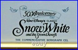 WALT DISNEY Snow White and Doc 50th Anniversary Framed Serigraph Cel Ltd. Ed