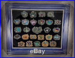 WDI MOG Disneyland 60th Framed 3D Cast Stained Glass Attraction Pin Set AP # 1/4