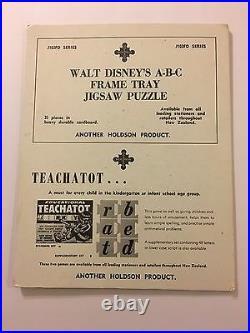 Walt Disney A-B-C ABC Frame Tray Puzzle New Zealand Import 1968 Mickey 2 Sided