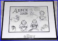Walt Disney Alice In Wonderland 1951 Framed Original Production Model Sheet