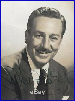 Walt Disney Autographed Black And White Studio Picture In Frame With COA. RARE