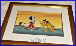 Walt Disney CEL CANINE CADDY Mickey Mouse Golf Golfer 18x25 Frame 359/500 COA LE