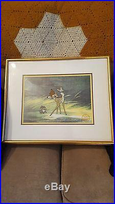 Walt Disney Cell, Bambi at Forest and Butterfly framed with coa