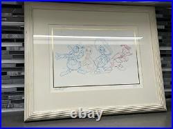 Walt Disney Donald Duck Framed Original Pencil Drawing By Bill Justice