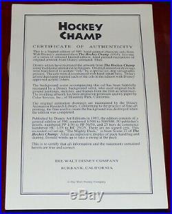 Walt Disney Donald Duck Hockey Champ Framed Le Cel Signed Bill Justice