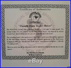 Walt Disney Donald Duck Pin Model Sheet Set Framed Limited Edition 448/7500