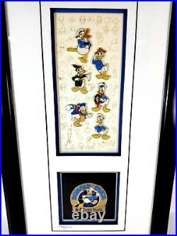 Walt Disney Donald's 65th Framed Pin Set with COA Limited Edition