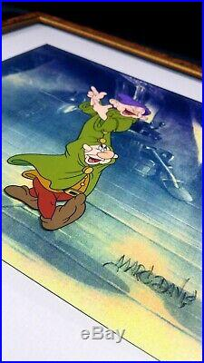Walt Disney Dopey and Sneezy cel from snowwhite animation Framed with COA