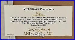 Walt Disney Framed'Villainous Portraits' Ltd Sericel & The Disney Villian Book