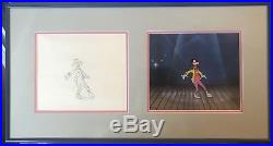 Walt Disney GOOFY Original Production Cel with Pencil Drawing FRAMED