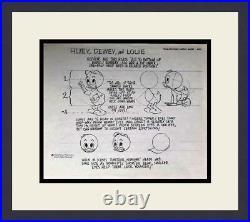 Walt Disney Hewey, Dewey & Louie Original Model Sheet Drawing 1971 FRAMED