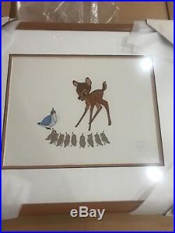 Walt Disney Limited Edition Bambi Serigraph Cel Framed 2500