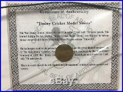 Walt Disney Limited Edition Framed Pin Set Jiminy Cricket Model Sheets RARE LE
