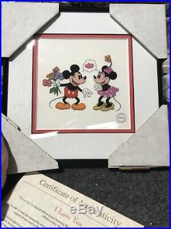 Walt Disney Limited Edition Framed Sericel I Love You with COA 1994