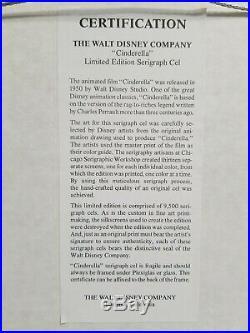 Walt Disney Limited Edition Framed and matted Serigraph Cinderella 1950 WithCert