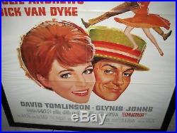 Walt Disney Mary Poppins, Julie Andrews, Dick Van Dyke framed poster 29x43