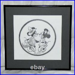 Walt Disney Mickey Mouse Minnie Framed Original Pencil Drawing By Bill Justice