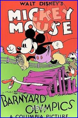 Walt Disney Mickey Mouse Serigraph Barnyard Olympics Custom Framed FREE SHIP