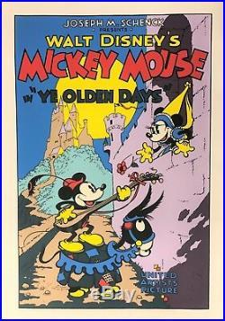 Walt Disney Mickey Mouse Serigraph Ye Olden Days Custom Framed FREE SHIP