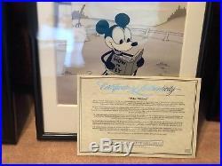 Walt Disney Mickey Plane Crazy 1928 Framed Sericel PILOT MICKEY with C. O. A