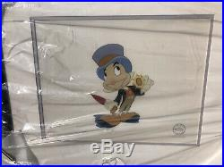 Walt Disney Pinocchio Jiminy Cricket Sericel Matted & Framed #d 5,000 With Cert