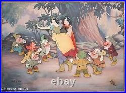 Walt Disney Production 1987 Animation Cel Snow White and the Seven Dwarfs Framed