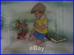 Walt Disney Production Cel Winnie the Pooh's Christopher Robin & Piglet FRAMED