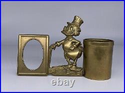 Walt Disney Productions Scrooge McDuck 60's Pencil Holder + Brass Photo Frame
